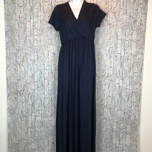 Rags and Couture Dresses - Rags & Couture Ruched Maxi Dress Blue Large